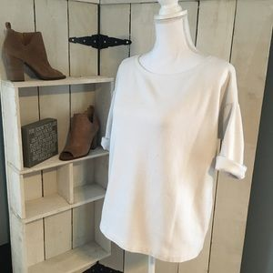 GAP thick ribbed t shirt with rolled sleeves